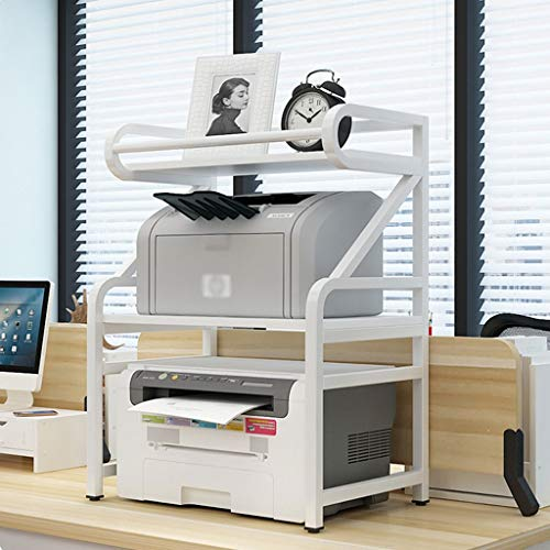 hongbanlemp Bürowagen 2-Schicht-Drucker-Rack-Weiß Stahlrahmen Home Office Multifunktions Storage Rack Geeignet...