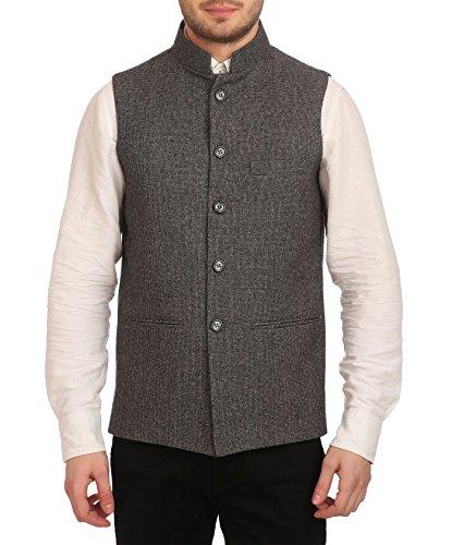 WINTAGE Männer Tweed Bandhgala festlich Nehru Jacke Weste: Grau