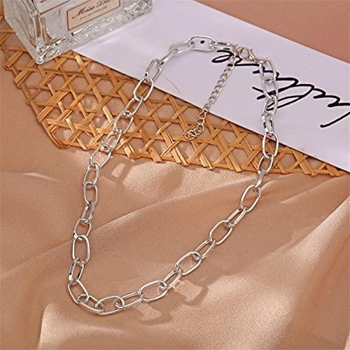 xinlianxin 2021 Collar de moda grande retro para mujer, color dorado, plateado, grueso y grueso, cadena de bloqueo, collar para fiestas (color metálico: plata)