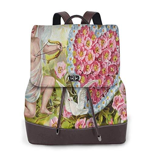 Yuanmeiju Womens Backpack Purse Vintage Valentine Cupid Shoulder Daypack Leather Laptop Bag Girls