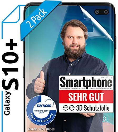 [2 Stück] 3D Schutzfolien kompatibel mit Samsung Galaxy S10 Plus - [Made in Germany - TÜV NORD] HD Displayschutz-Folie - Hüllenfreundlich – Transparent – kein Schutz-Glas - Panzer-Folie TPU