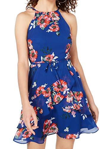 BCX Dress Cobalt Junior A-Line Floral Tie Waist Halter Blue XL