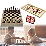Fast Sling Puck Game Foldable 2-in-1 Winner Board Chess Games and International Chess Board Table Games Toy with Scoreboard for Adults and Kids at Family Party