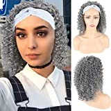 Oseti Short Afro Kinky Curly Headband Wigs for Black Women Deep Wave Wig No Lace Front Wigs Curly Hair Wig Synthetic Head Wrap Wigs with Headbands Attached Natural Deep Curly Half Wig 2in1 16inch