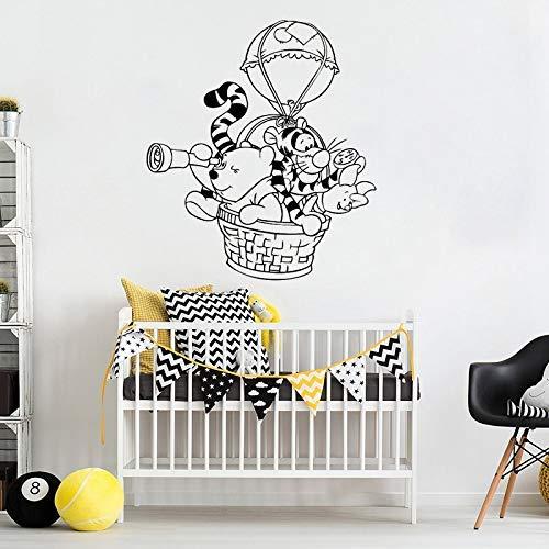 Winnie The Pooh Wandtattoo Heißluftballon Vinyl Aufkleber für Kinderzimmer Kinderzimmer Schlafzimmer Wohnkultur wasserdicht Entfernen 42 * 48Cm