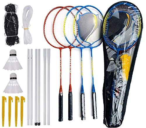 4 Pack Badminton Racquets Portable Outdoor Tennis Rackets Complete Badminton Combo Set Badminton Net System for Adults Kids Family Garden Outdoor Sport Game COOLLL 4 Player Badminton Set