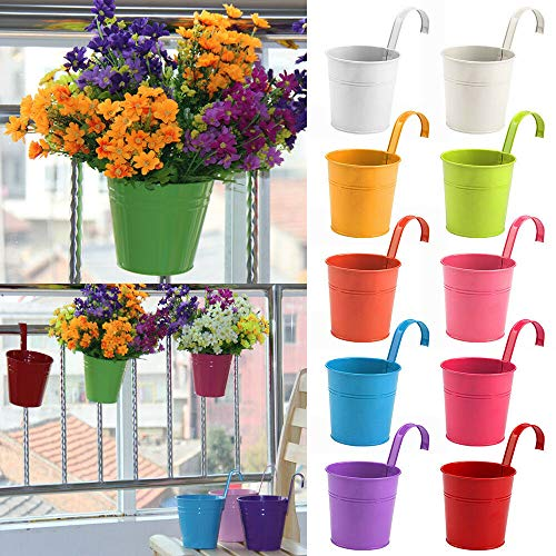 10 Pcs New Metal Iron Flower Pot Hanging Balcony Garden Planter Décor