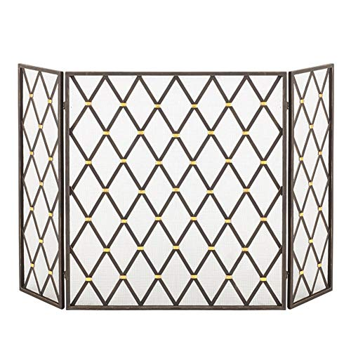 Best Review Of HWF Large Gas Stove Fireplace Screen Doors with Metal Mesh, 3 Panel Wrought Iron Clas...