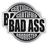Bad Ass Rodbuster V2 (2 PACK) Full Color Printed Sticker by StickerDad (size: 2' color: SILVER/BLACK) for Hard Hat, Helmet, Windows, Walls, Bumpers, Laptop, Lockers, etc.