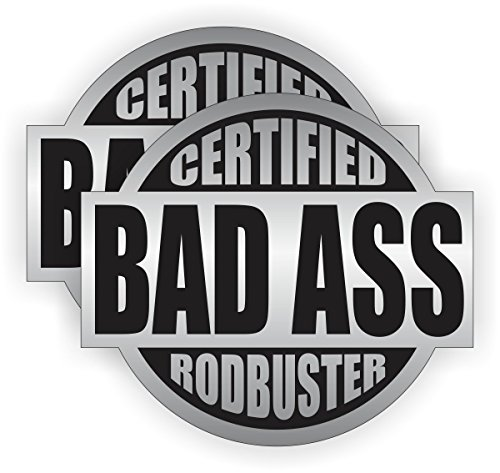 """Bad Ass Rodbuster V2 (2 PACK) Full Color Printed Sticker by StickerDad (size: 2"""" color: SILVER/BLACK) for Hard Hat, Helmet, Windows, Walls, Bumpers, Laptop, Lockers, etc."""