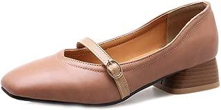 Bonrise Women's Square Toe Oxford Loafers Shoes Slip-On Studded Retro Low Block Heels Dress Oxfords Black