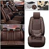Qiaodi Fundas de asiento de auto de lujo de cuero sintético 5 asientos completo para Mazda 2 3 5 6 CX-3 CX-5 CX-7 CX-9 MX-5 BT50 RX8 Tribute Fundas de asiento de automóvil protector de cojín (café)