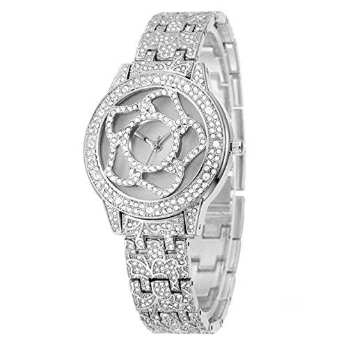 La Signora Temperamento Frontalino Lusso Diamante Orologi Moda Tabella Femminile Retrò Orologi In Acciaio Inox,Silver-OneSize