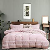 HYPREST Light Pink Duvet Covers Queen- 3 Pcs Soft Breathable Pink Comforter Cover Queen Size, Boho Bedding Set with Zipper Closure and Corner Ties