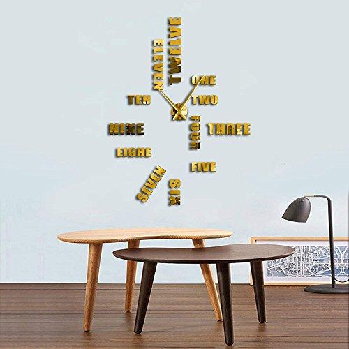 Gudojk Wandklok, Engelse letter, grote cijfers, modern design, DIY decoratie, accessoires zonder frame, 37 inch