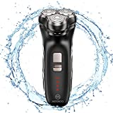 MOOSOO Electric Razors For Men,3D Floating Heads Electric Shavers, IPX6 100% Waterproof Portable Travel Household, Dry Wet Cordless Beard POP-UP Trimmer for Dad & Husband Shaving, 3000 rpm Super Motor