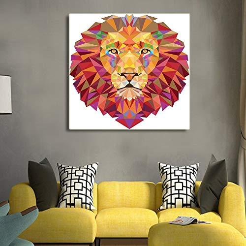 Foto muur leeuw poster poster decoratie canvas schilderij abstract art dier canvas print prints woondecoratie muurschildering 50x50 cm frameloze