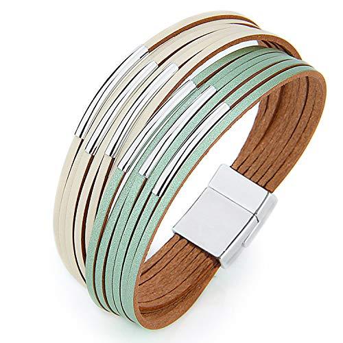 MUERDOU Infinity Leather Cuff Bracelets for Women Handmade Wrap Bangle Boho Bracelets Gifts for Women Teen Girl