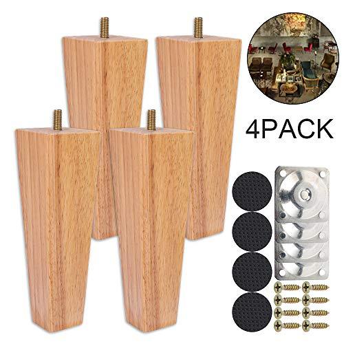 4 patas de madera para sofá de 6 cm / 10 cm / 15 cm, patas de muebles, patas de madera de roble para sofá, armario y cama, con tornillos y tacos de fieltro