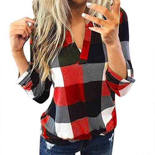 feftops Camisa de Mujer Casual Algodón de Manga larga Camisa a Cuadros Rojo de OtoñO de las Mujeres Chaqueta Adelgazada Cuello en V Suelto Superior Cómodo Diario Camiseta