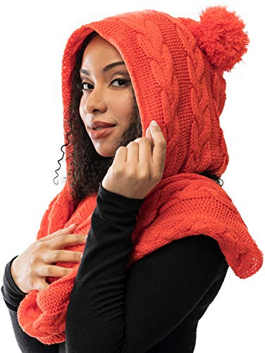 MAYA | Silk Satin Lined Slouchy Beanie & Scarf | Knit Large Cap & Scarf | Ideal for curly and natural hair (Tangerine)