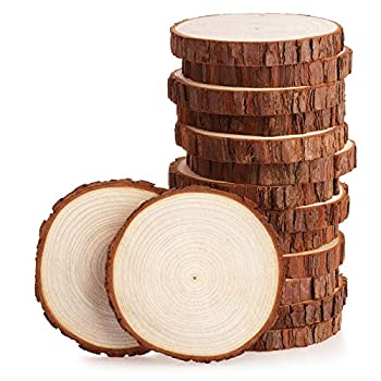 Fuyit Wood Slices 15 Pcs 4-4.3 Inches Unfinished Natural Tree Slice Wooden Circle with Bark Log Discs for DIY Arts and Craft Rustic Wedding Christmas Ornaments