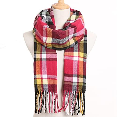 SLATIOM Bufanda de invierno a cuadros de moda para mujer Foulard cálido Bufandas sólidas Bufandas casuales Cachemira (Color : Color 4)