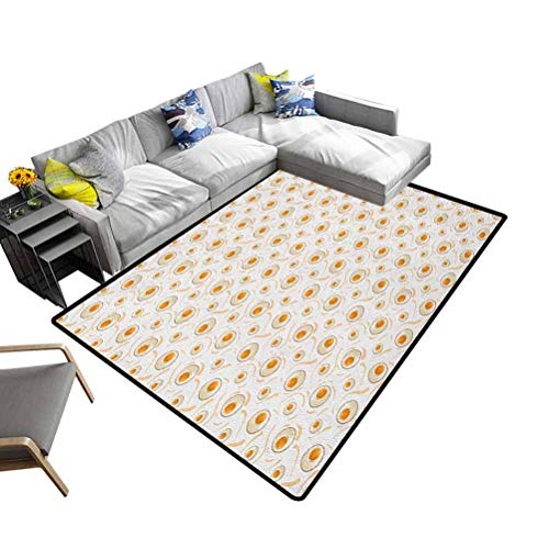 Nursery Area Rug Egg, Modern Area Rug with Non-Skid Breakfast Food Pattern with Fried Eggs Healthy Protein Omelets Morning Meal Easy to Clean Stain Fade Resistant Soft Marigold Peach Cream, 153x244 cm