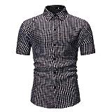 BEIXUNDIANZI Chemise pour Hommes Chemise à Manches Courtes Respirante à Rayures à la Mode pour Hommes Chemise de Travail pour Hommes XL