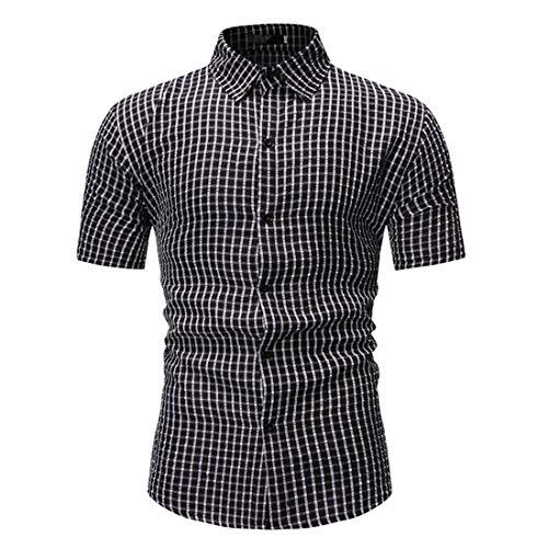 Camisa Hombres Verano Slim Fit Hombres Manga Corta A Rayas Cuello Kent Tapeta Botones Camisas Ocio Camisa Caballero Negocios De Todo Fósforo Hombres G-Black3 XL
