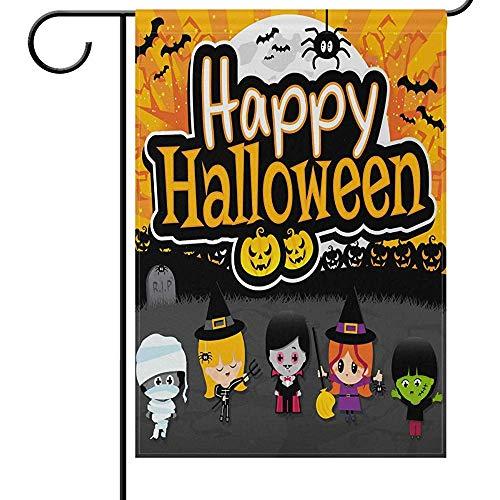 jiaxingdalin Halloween Flagge gruselige Kostüme Cosplay Vampir Hexe Mumien Lustig beängstigend Willkommen Herbst Herbst Urlaub Outdoor Yard Garten Flaggen Banner für Party