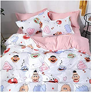 KFZ Bed Set (Twin Full Queen King Size) [4 Piece: Duvet Cover, Flat Sheet, 2 Pillow Cases] No Comforter KY1904 Rabbit Cat Cow Design for Kids Sheets Set (Sesame Friend, Pink, Queen 80