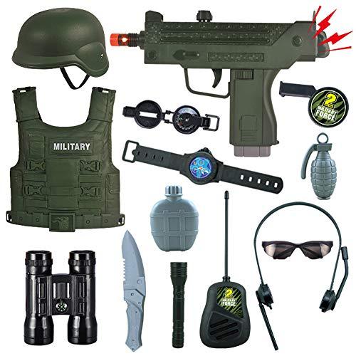 Disfraz Policia Niño, Accesorios De Simulación De Casa De Juegos De Jardín De Infantes, Chaleco Antibalas Gorra Militar Traje Militar