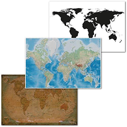 GREAT ART 3er Set XXL Poster – Weltkarten Mix – Historisch Mercator Projektion Schwarz Weiss Globus Atlas Kontinente Dekor Inneneinrichtung Wandbild Plakat je 140 x 100 cm