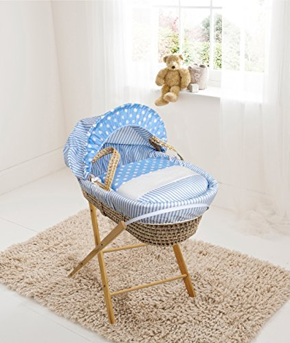 Blue Spots & Stripes Palm Moses Basket & Folding Stand