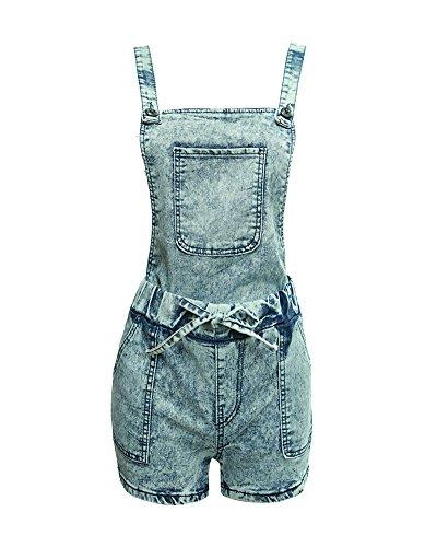 ZongSen Femme Mini Jeans Taille Haute Slim Délavé Chaude Pantalons Sangle Shorts Bleu Clair M