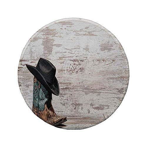 Rutschfreies Gummi-rundes Mauspad Western traditioneller Rodeo-Cowboyhut und Cowgirl-Stiefel in einem Retro-Grunge-Hintergrund-Kunstfoto Braun-Schwarz 7.9