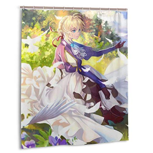 Meili Anime Violet Evergarden Duschvorhang mit Haken Waschbar Wasserdicht Home Badezimmer Dekorationen, für Badezimmer Duschen 60x72in