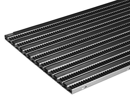 EMCO Eingangsmatte DIPLOMAT 22mm Gummi + Bürsten schwarz Fußmatte Schmutzfangmatte Fußabtreter Antirutschmatte, Größe:740 x 490 mm