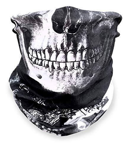 Skull Face Mask   Neck Gaiter   Sport Grade BiFlex Microfiber, two way skull black and white pattern, Made in USA   Versatile Headwear   Head wrap, Face Mask for Camping, Running, Hiking, Biking