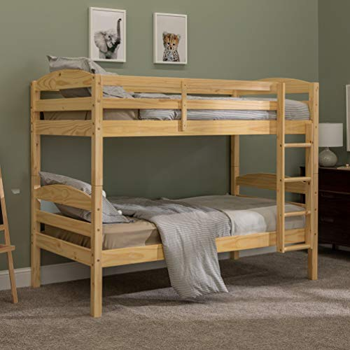 Walker Edison Wood Twin Bunk Kids Bed Bedroom with Guard Rail and Ladder Easy Assembly, Natural