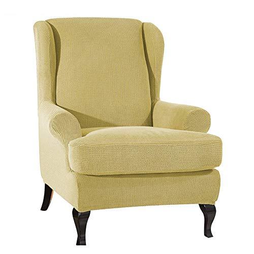 Mqing Hohe Dehnung Sesselbezug,Weicher Jacquard Schonbezug Armchair Covers Checked Pattern Möbelschutz Für Den Empfang Im Wohnzimmer-Gelb