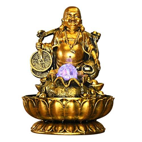 Zimmerbrunnen/Desktop Brunnen Feng Shui Buddha Statue Desktop-Dekoration Wasserfall-Brunnen Wohnzimmer Office Desktop-Brunnen Kreative Befeuchter mit LED-Rundum Kristallkugel, Gold Meditation Wasserfa