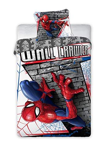 Unbekannt Faro - Spider Man Wall Crawler Bettwäsche mit Bettbezug 160x200cm und Kissenbezug 70x80cm 100{0bbf8550319471b3160f7312a1dcade65ddfff2f4b939e62d60aec5322edbff7} Ursprüngliche Baumwolle