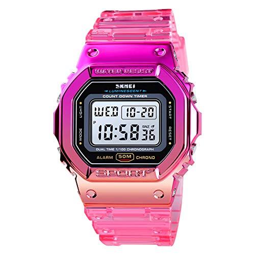 Festnight Reloj Deportivo Digital para Mujer Color de Contraste Modo de Hora Dual Fecha Semana Reloj Despertador Retroiluminación 5ATM Relojes de Moda Femeninos a Prueba de Agua para la Vida Diaria