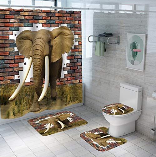 GjbCDWGLA Juego De Cortinas De Ducha De Elefante Tridimensional De Moda con Alfombra Antideslizante, Tapa De Inodoro, Alfombra De Baño Y 12 Ganchos, Baño De Moho Impermeable