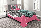 Lunarable Modern Bedspread, French Bulldog Split with and Paintbrush Vivid Artwork Print, Decorative Quilted 2 Piece Coverlet Set with Pillow Sham, Twin Size, Seafoam White