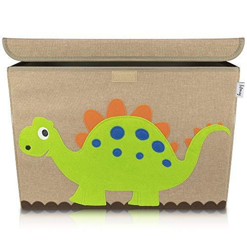 Lifeney Aufbewahrungsbox Kinder 51 x 36 x 36 cm I Kiste mit Deckel für Kinderzimmer I Aufbewahrungsbox mit Deckel für Kindersachen I Boxen Aufbewahrung mit Tiermuster I Spielzeug Aufbewahrung (Dino)