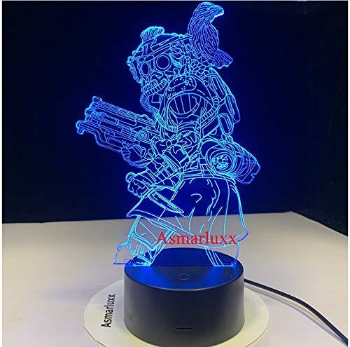 Goliath Whisper Half Bat Bloodhound Technologisches Tracker-Spiel Hunter 3D LED-Nachtlicht 7 Farben USB-Dekor Illusion als Geschenk Kein Controller