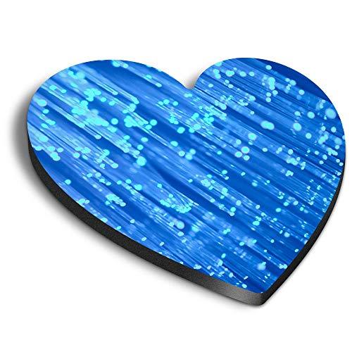 Destination Vinyl ltd Corazones MDF Imanes - Cable de fibra óptica azul...